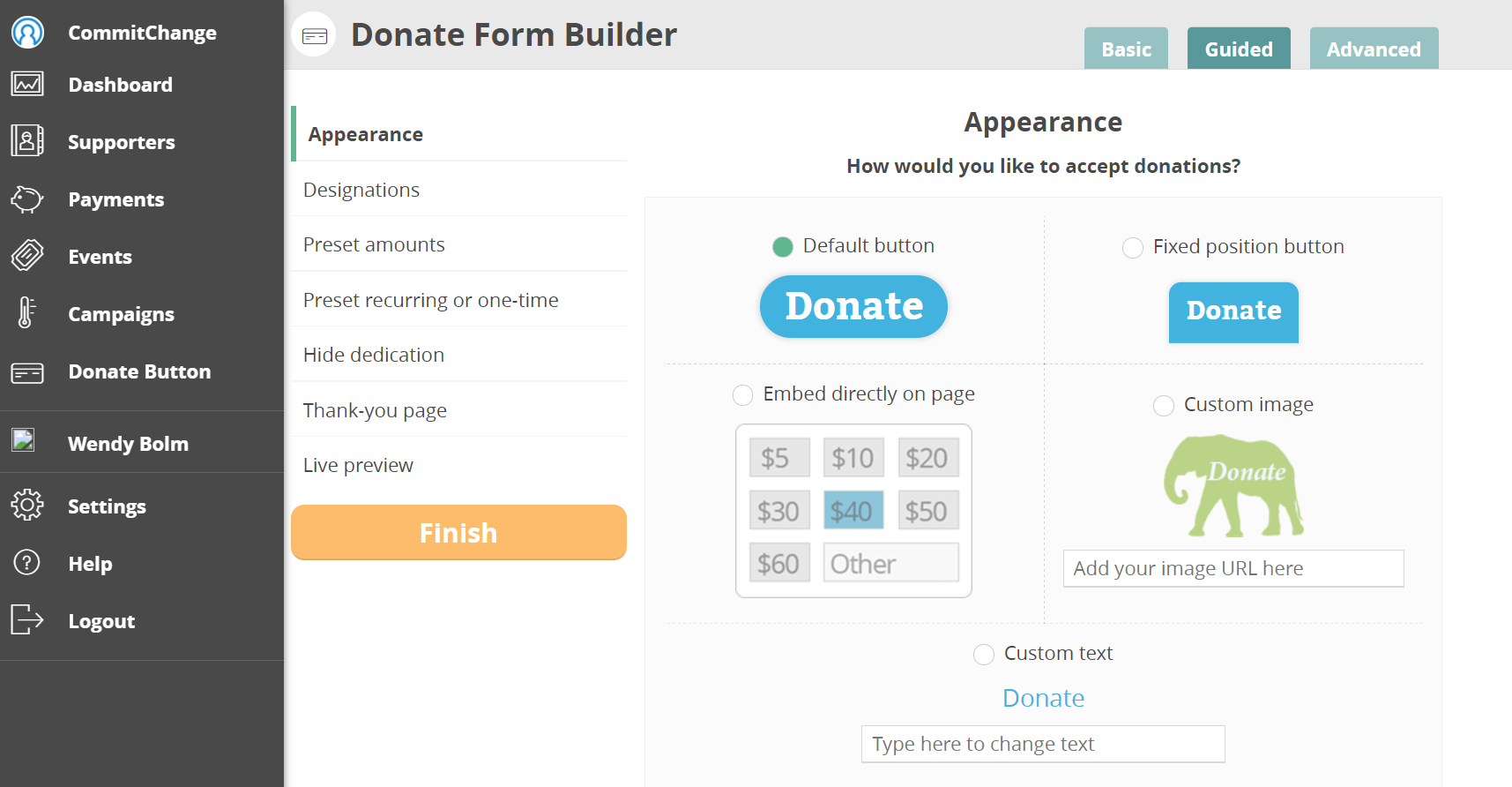 CommitChange Donate Button Builder