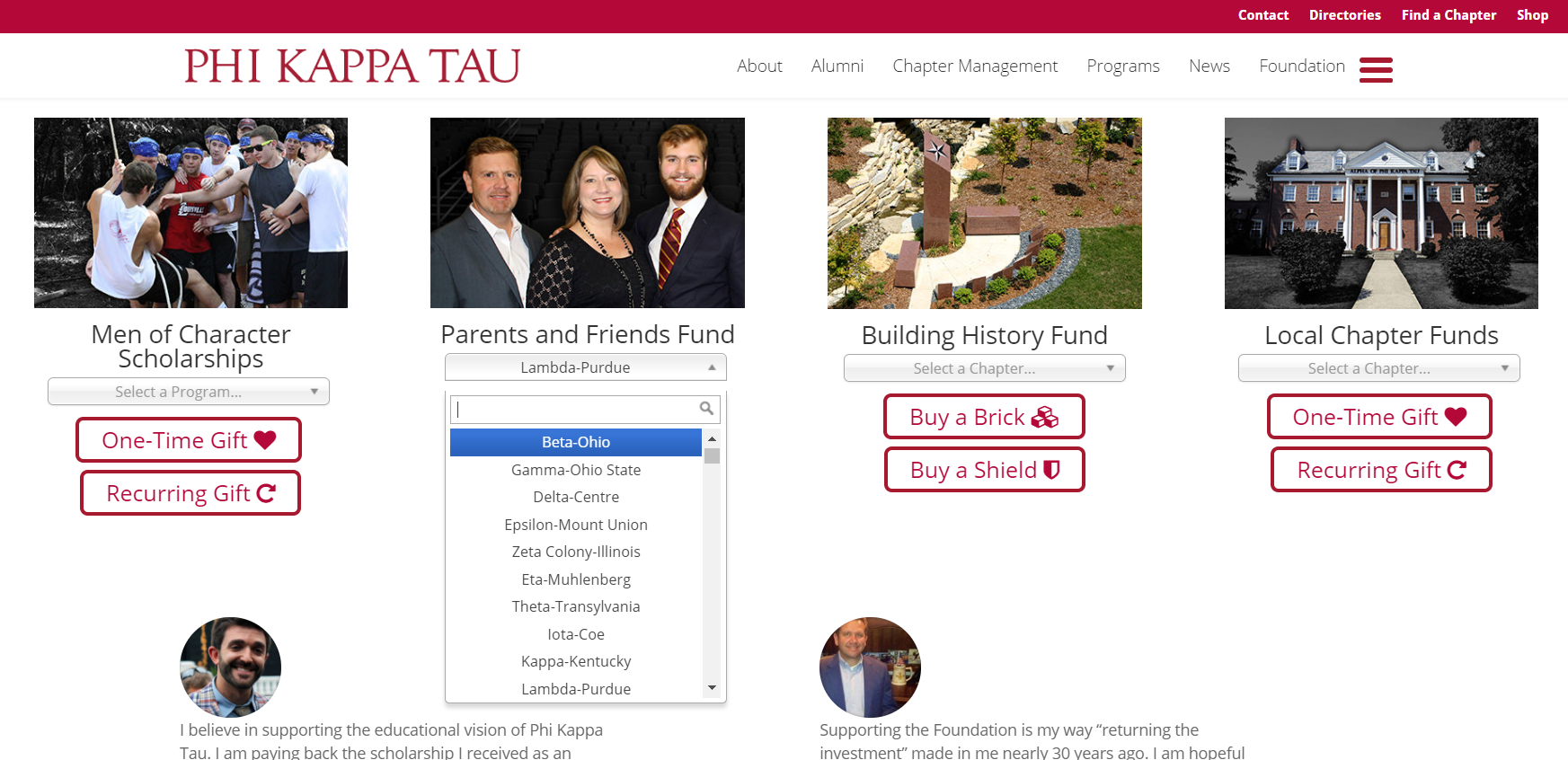 CommitChange Phi Kappa Tau implementation