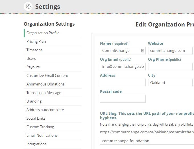 CommitChange Organization Settings