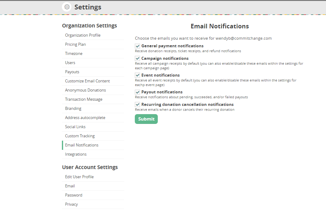 CommitChange email notification settings