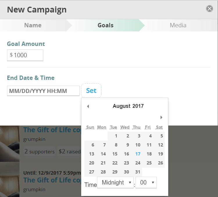 CommitChange Campaign Goal Form