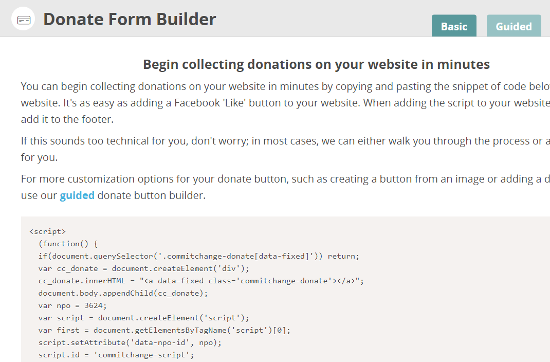 CommitChange Basic Donate Button Code