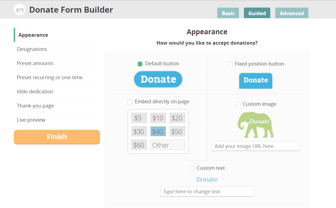 CommitChange Custom Text Donate Button Option