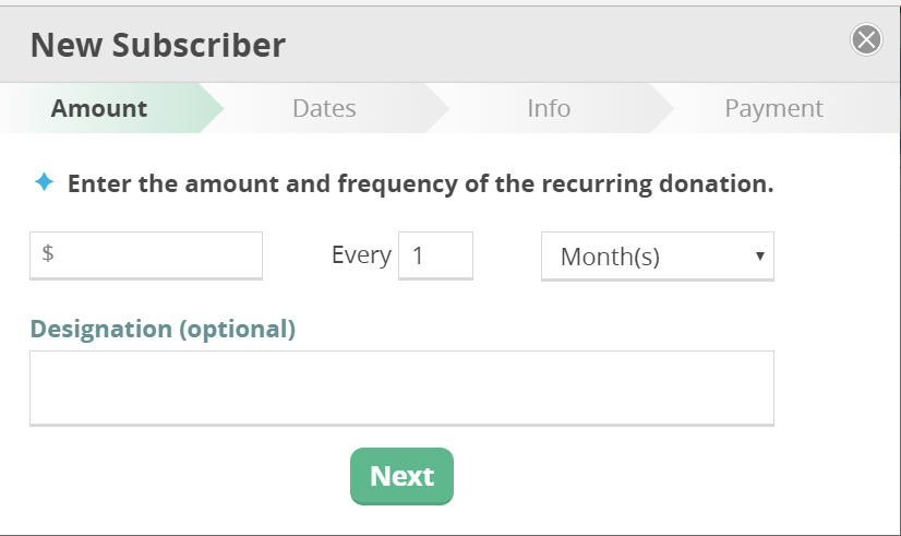 CommitChange Recurring Donation Form Modal