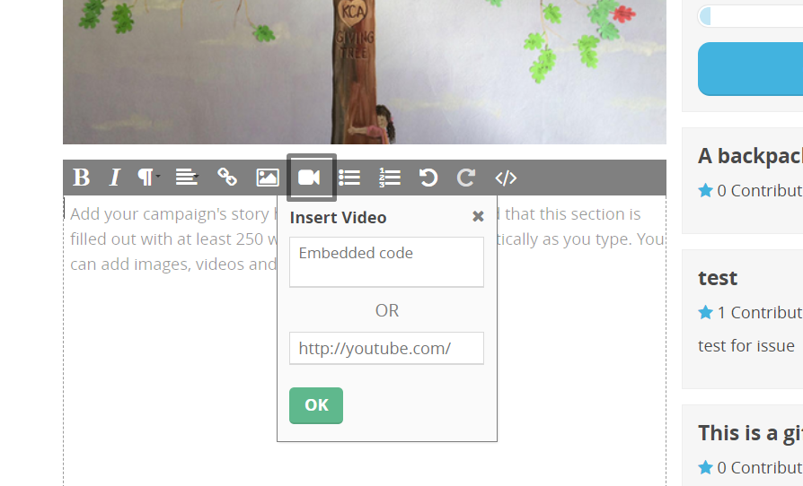 CommitChange Add Video Icon in WYSIWYG